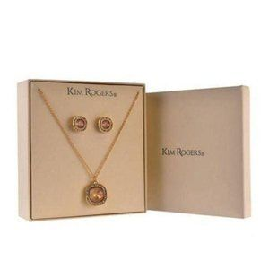 Kim Rogers Gold Square Earrings and Necklace Set
